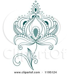 Clipart of a Teal Henna Flower 3 - Royalty Free Vector Illustration by Seamartini Graphics Media