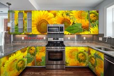 Top 40 Colorful Kitchen Cabinet Remodel Ideas For First Apartment - carilynne news Kitchen Wallpaper, Kitchen Cabinet Colors, Kitchen Colors, Modern Kitchen Cabinets, Kitchen Cabinets Wrapped, Floor Remodel, Kitchen Cabinet Remodel, Cabinetry, Rustic Kitchen Cabinets