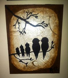 Burn Pages Family of Birds - Moont Art