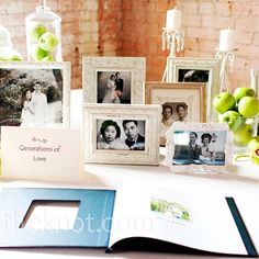I love this idea! Wedding photo's of the bride and groom's family on their wedding day.