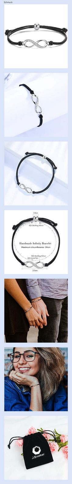 J.Endéar Armband Damen Unendlichkeitszeichen Silber 925 Seil Armband handgemachte Freundschaft Armband Liebesgeschenke 24cm verstellbar - 14hd
