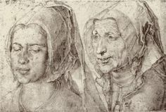 Albrecht Dürer An Young and Old Woman from Bergen op Zoom - These two women are Vrouwe (Lady) de Haas and her maid. Renaissance Portraits, Renaissance Art, Bergen, Albrecht Dürer, Jan Van Eyck, Art Database, Caravaggio, Old Art, Rembrandt