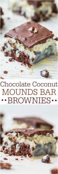 Chocolate Coconut Mounds Bar Brownies - Eat a Mounds chocolate bar based on rich, fudgy brownies! Chocolate Coconut Mounds Bar Brownies - Eat a Mounds chocolate bar based on rich, fudgy brownies! 13 Desserts, Delicious Desserts, Yummy Food, Mounds Bar, Mounds Candy, Brownie Recipes, Cookie Recipes, Dessert Recipes, Bar Recipes