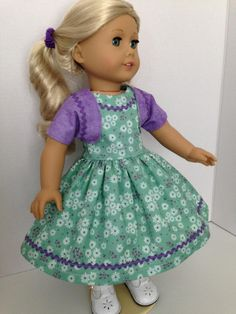 1950's Dress--fits 18 inch American Girl Doll--Sleeveless Dress with Bolero, by TeaTimeDesignsShop on Etsy