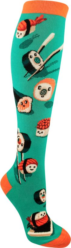A super silly, extra kawaii assortment of sushi that's just too cute to eat! ModSock original knee highs fit women's shoe sizes.