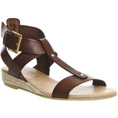 Office Hadley Leather Espadrille (1 545 UAH) ❤ liked on Polyvore featuring shoes, sandals, brown leather, women, ankle strap shoes, gladiator sandals, leather sandals, chanel espadrilles and strappy sandals
