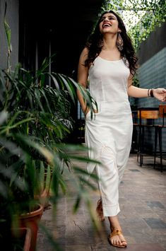 White Kantha Hand Embroidered Cotton Kurta with Pants- Set of 2 Simple Kurti Designs, Kurta Designs Women, Tunic Designs, Mode Outfits, Dress Outfits, Fashion Dresses, Office Outfits, Casual Outfits, Indian Wedding Outfits