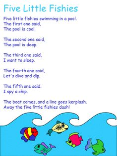 Words, crafts and coloring pages for the Five Little Fish nursery rhyme Kindergarten Songs, Preschool Music, Preschool Lessons, Songs For Toddlers, Lesson Plans For Toddlers, Ocean Activities, Preschool Activities, Senses Preschool, Ocean Lesson Plans