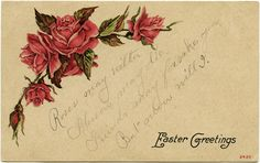 Red Roses and Poem Printable Easter Postcard ~ Free Vintage Graphics