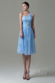 Fancy One Shoulder Natural Knee Length Lace Sleeveless Lace Up-Corset Bridesmaid Dress #COZK16009 #cocomelody #bridesmaiddress