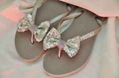 2ae0a9db7 Items similar to Custom WEDDING SEQUIN BOW Flip Flops Bridesmaid Bride Flip  Flops