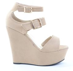 Strappy Double Buckle Wedges Platform Sandal