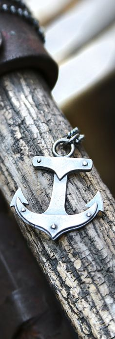 "Limited Edition Sterling Silver Anchor Necklace with Rivets. Great industrial look. Oxidized finish. Unisex Handmade Anchor is approximately 1"" long. Chain is 18"" long."