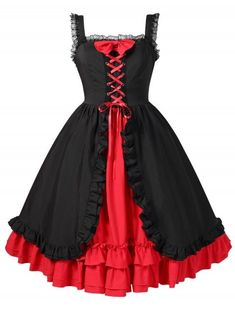 Halloween Plus Size Contrast Layered Vintage Dress - BLACK 5X      Use code 44b9e41fb2a