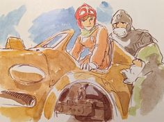 Images Drawn for the Nausicaa Motion Picture ===== Released March 1984 - image boards, tapestries drawn for the opening, etc ===== Notes: Nausicaa climbing into one of the Valley of the Wind's small war machines