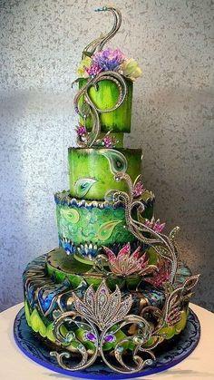 Ornate wedding cake in greens