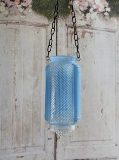 Repurposed vintage glass light shade - wedding lantern, candleholder