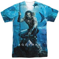 6deaa0fe6e63 Aquaman Movie Poster Poly Sublimation T-Shirt FAST WORLDWIDE SHIPPING