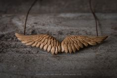 Hand Carved Wings Pendant by Giles Newman