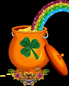 Pot of Gold at the end of the Rainbow glitter rainbow gif luck clover greeting st patricks day pot of gold