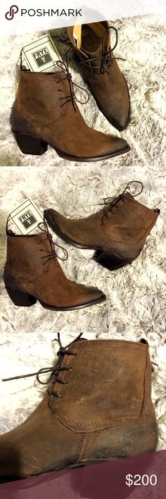 Frye Sacha Chukka Suede Leather Ankle Boots Brand new with tags, women's size 8. These Frye Sacha Chukka Suede Leather Ankle Booties are built to last! These dark brown boots boasts a western attitude with its pointy toe and cowboy heel. Crafted from oiled suede, which results in an effortless worn in look. Minor scuffs due to the nature of the suede & storage, as shown in the picture. Minor wear to sole from being tried on once indoors, was never worn outside. Leather lined & leather…