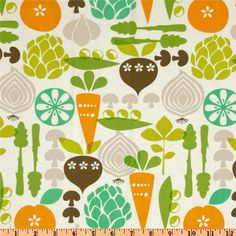 Kitchy Kitchen Vegetable Garden Linen -  Retro fabric for curtains green orange