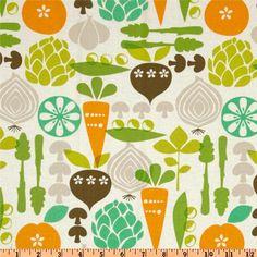 Kitchy Kitchen Vegetable Garden Linen -  Retro fabric for curtains green orange