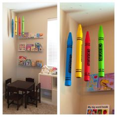 Giant Crayon Banks from the Dollar Tree Store-hanging ceiling decor for my daughter's reading/playroom