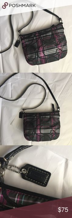 Coach Crossbody! Coach Plaid Tartan Crossbody! Excellent condition! Zipper closure and and outside pocket! Black and purple plaid with Classic C in black sparkle! 9x6.5 inches! Handle drop 22.5 inches! Handle is black patent leather! Coach Bags Crossbody Bags