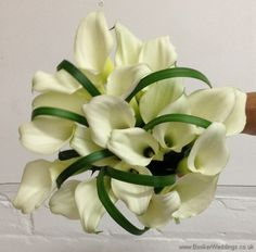Wedding Flowers Liverpool, Merseyside, Bridal Florist, Booker Flowers and Gifts, Booker Weddings Calla Lily and Lily Grass Hand Tied Bridal Bouquet Diy Wedding Bouquet, Bride Bouquets, Wedding Bride, Our Wedding, Bridesmaid Bouquets, White Wedding Flowers, White Flowers, Wedding Colors, Calla Lillies