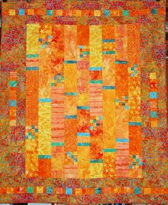 Batik Gems - Part 8 The orange quilt is now finished and I even had a proper name for it - Garden in the Sun. Here it is all finished. Orange Quilt, Batik Quilts, Crafts For Seniors, String Quilts, Contemporary Quilts, Quilt Making, Fabric Patterns, Quilt Blocks, Fiber Art