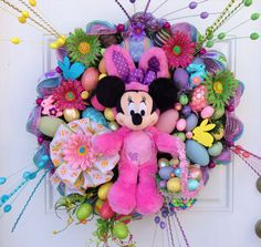 Minnie Mouse Easter Wreath by SparkleForYourCastle on Etsy, $179.00