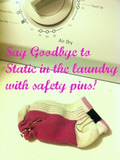This is SO cool! Stick a couple of safety pins in a sock and throw it in the dryer--no more static, EVER!