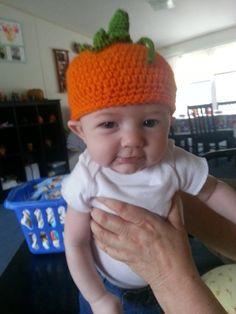 Crochet Baby Pumpkin Hat by LEACreations on Etsy, $6.00