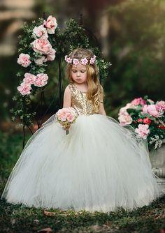 Giselle: Gold Sequin and Ivory Gown – LaurenHeleneCouture Gold Flower Girl Dresses, Flower Girl Gown, Flower Girls, Gowns For Girls, Tutus For Girls, Girls Dresses, Toddler Dress, Baby Dress, Baby Tutu