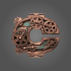 c vector rusted letter with gears