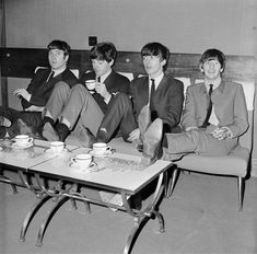 The Beatles relax backstage at London's Prince of Wales Theatre, before the Royal Variety Performance in November 1963. They are supporting Marlene Dietrich in the show. Photo: Mark And Colleen Hayward, Getty Images