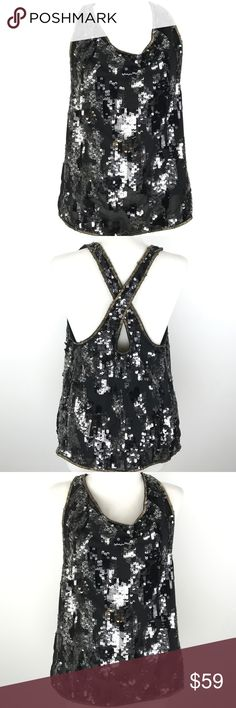Diesel D-Elitop Sequin Tank Diesel black chiffon top. Sequinned, cross-over back, beaded trims, fully lined. Slips on. 100% polyester. Diesel Tops Tank Tops