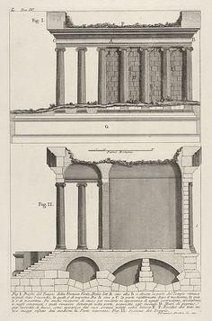 Giovanni Battista Piranesi | Profile of the Temple of Fortuna Virilis (Profilo del Tempio della Fortuna Virile), and section of the temple, from the series 'Le Antichità Romane' | The Met