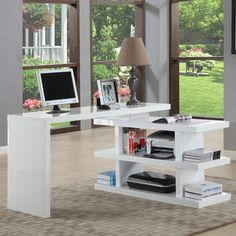 Stunning Modern Home Office Desks With Unique White Glossy