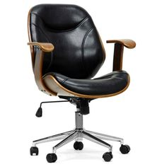 Work in comfort with this modern office chair from Baxton Studio. Featuring a high back, paneled seat and foam cushioning, this chair offers you great comfort throughout your work day. The walnut fini