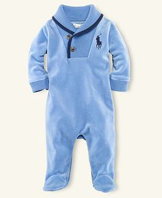 Ralph Lauren Baby Coverall, Baby Boys Polo Velour Coverall - Kids Baby Boy (0-24 months) - Macy's