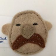 Handcut and hand sewn moustache brooch/badge
