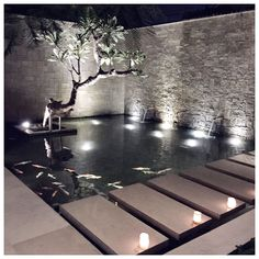 Garden Pond Design, Patio Design, Exterior Design, Landscape Design, Ponds Backyard, Backyard Patio, Backyard Landscaping, Villa Design, Modern House Design