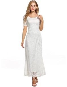 ANGVNS Womens Full Lace Solid Short Sleeve Elegant Wedding Maxi DressWhiteXLarge * Continue to the product at the image link.