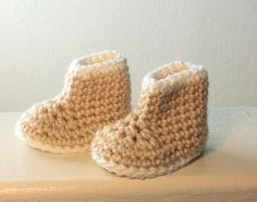 Cropped Tan Baby Boots with Cream Edging, $9 at Made In Flight on Etsy
