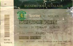Futebol: Sporting Clube Portugal vs A.C. Milão @ Estádio José de Alvalade, Lisboa. Quinta-feira, 6 de Dezembro de 2001. Resultado final 1-1 (Niculae e Javi Moreno).