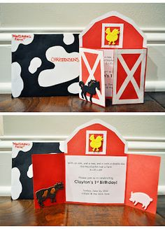 farmyard party (the invites are what I had pictured in my head)