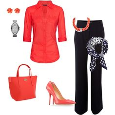 Coral and Navy for spring, created by chocirish on Polyvore