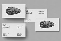 Picture of business cards designed by Michael Mason for the project Park National. Published on the Visual Journal in date 1 December 2015